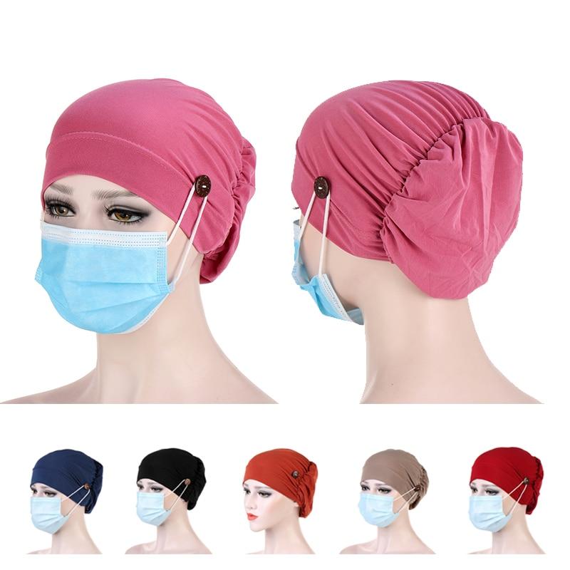 新しい女性ターバンヘッドラップ帽子ボタン帽子スカーフボンネット内側hijabsキャップイスラム教徒ヒジャーブ化学及血帽子turbantesキャップ