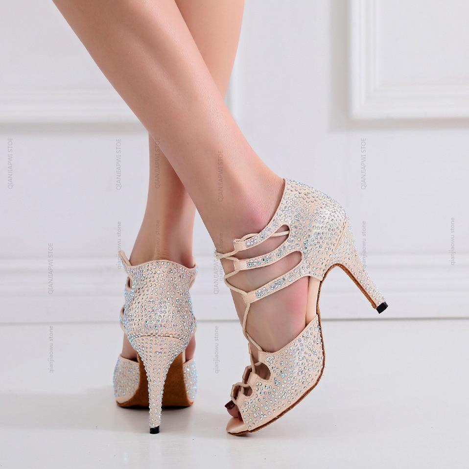 2020 NEW European Jazz Salsa Ballroom Latin Dance Shoes For Dancing Women Social Sexy Rhinestones High Heels Summer Skin Sandals
