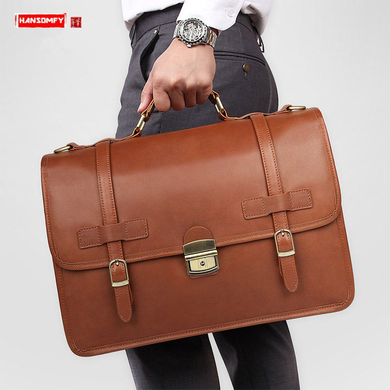 Real Genuine Leather Men's Briefcase Men Business Lock Handbag Large Capacity Waterproof Male Laptop Bag Travel Shoulder Bags