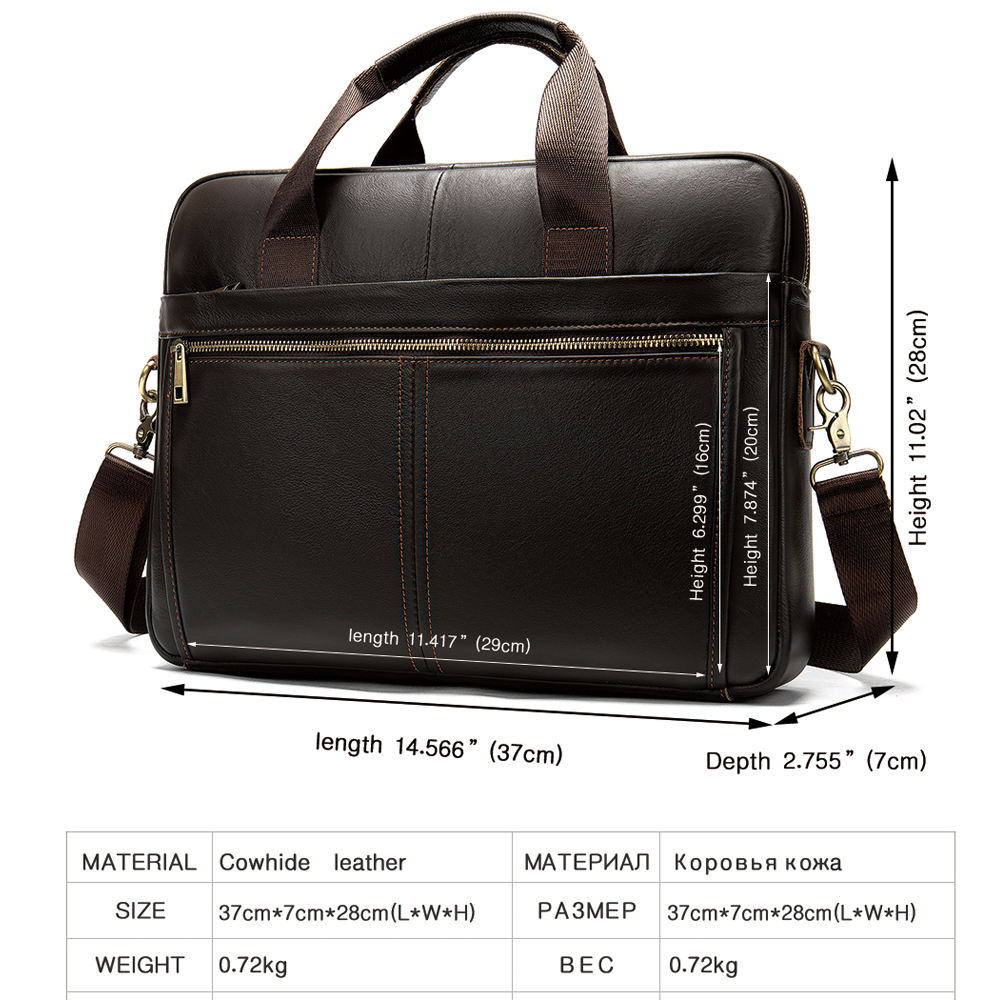 Image 2 - WESTAL briefcase messenger bag mens genuine leather 14 laptop  bag mens briefcases office business tote for document 8572Briefcases
