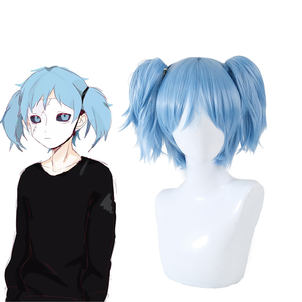 Sally Face Cosplay Props Sally Wig Short Blue Heat Resistant Synthetic Hair Clip Ponytails Wigs