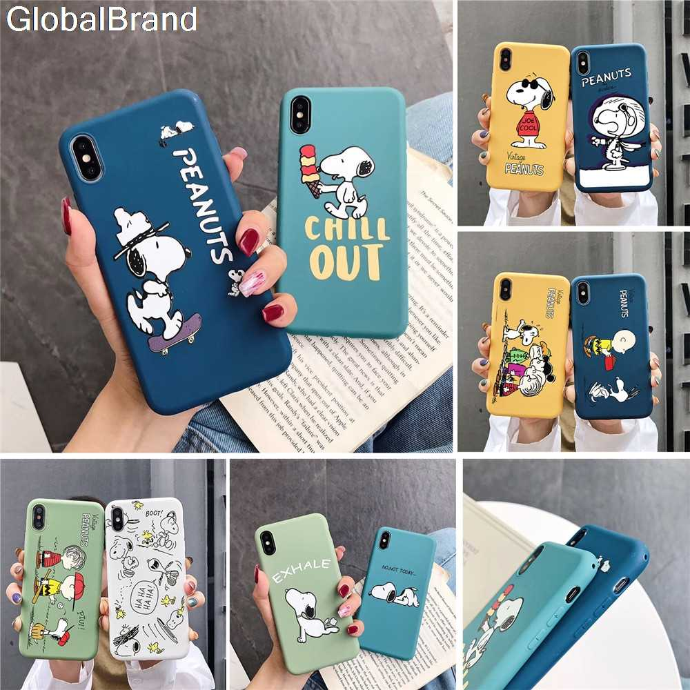 Peanuts Charlie Brown Beagle Hond Cartoon Candy Tpu Telefoon Case Voor Apple Iphone 11 Pro X Xs Max Xr 7 8 6 S Plus Zachte Scrub Cover