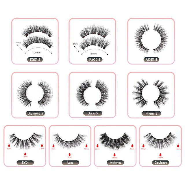 Magnetic False Eyelashes & Magnetic Liquid Eyeliner Set 5 Magnets Natural Fake Eyelashes Extension Waterproof Lasting Makeup Kit 2