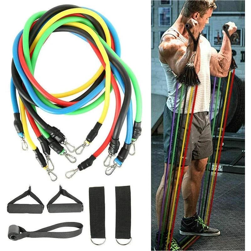 11PCS Resistance Bands set Pull Rope Gym Fitness Exercise Tubes Workout Yoga Kit