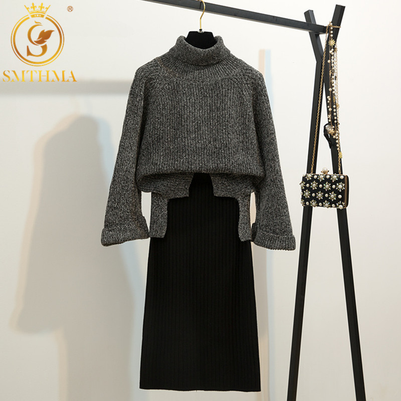 SMTHMA 2019 Winter High Quality Runway New Loose Turtleneck Pullover Sweater +two-piece Skirt Suit