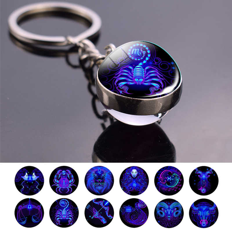 12 constellations Glow In The Dark Double Side Keychain Pendant Glass Ball Hot