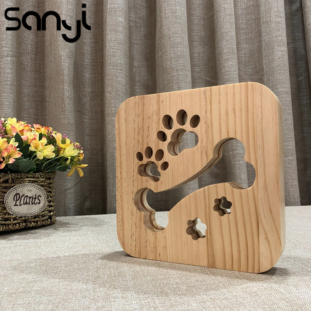 SANYI Wooden Animal Night Light USB Powered Desk Lights With Paw Dog Bone Creative 3D LED Wooden Decorative Table Lamp