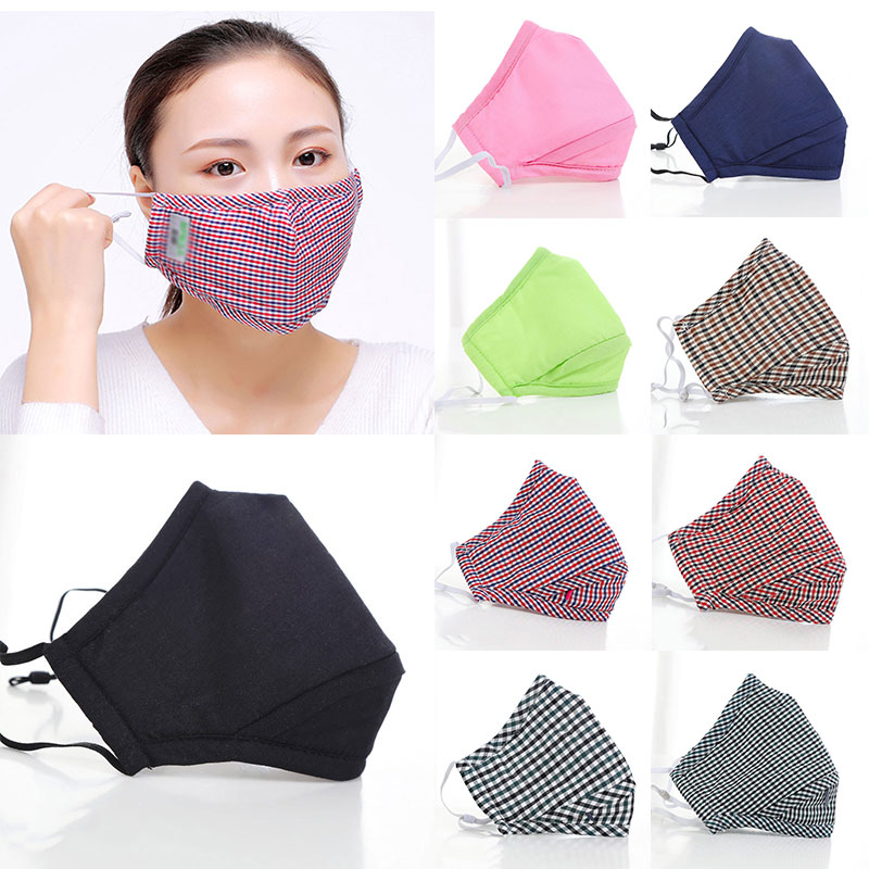 Women Men Cotton PM2.5 Anti Dust Mask Activated Carbon Filter Mouth Mask Solid Plaid Face Masks Cover Ruesable High Quality