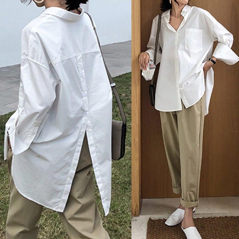 Celmia Femmes Chemise Blanche 2021 Surdimensionné Chemises Mode Revers Décontracté Uni Manche Longue Boutons Haut Asymétrique Automne Blusas 5XL