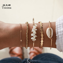 Tocona 5pcs/sets Gold Beaded Bracelets White Natural Stone Bohemian Beach Shell Open Brangles for Women Summer Jewelry 8569