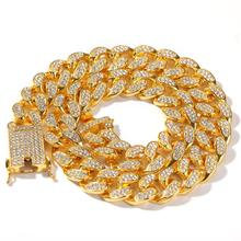 Hip hop Bling Rhinestone Jewelry Necklace Gold Color 20mm Iced Out Cubic Zirconia Chain
