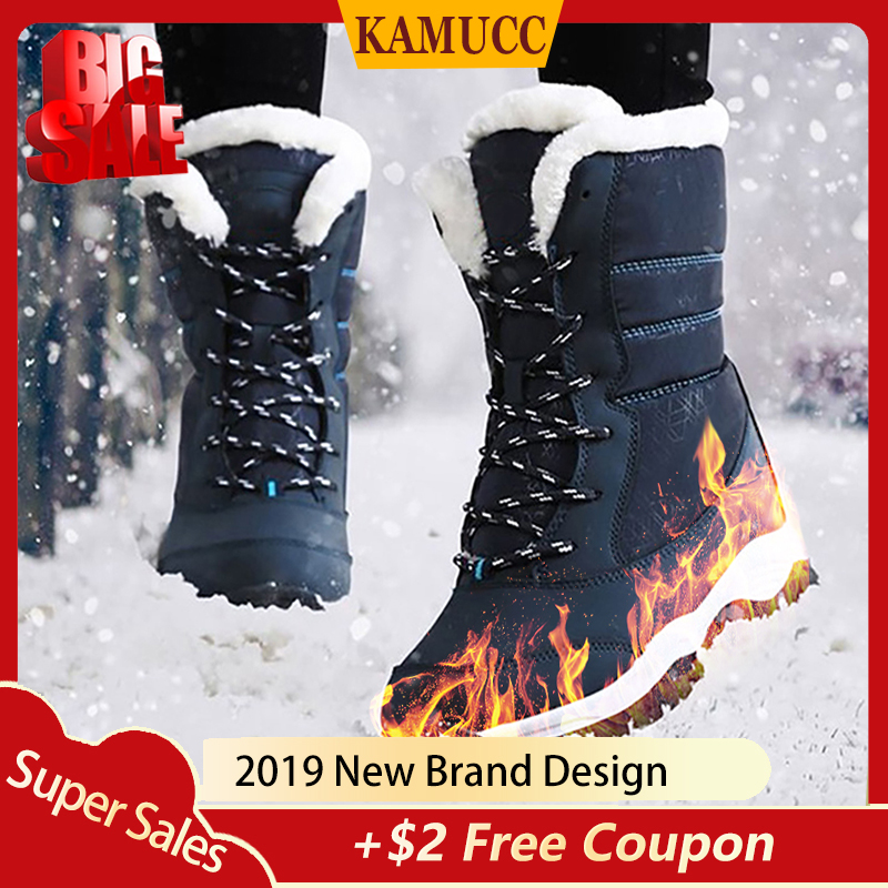 2019 Women Snow boots Waterproof Non slip Parent Child Winter Boots Thick Fur Platform Waterproof and Warm Shoes Plus Size 31 42 in Ankle Boots from Shoes