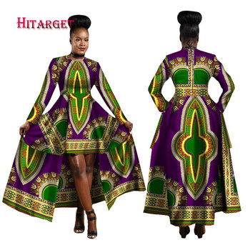 Lue's House African Dresses for Women Dashiki Cotton Wax Print
