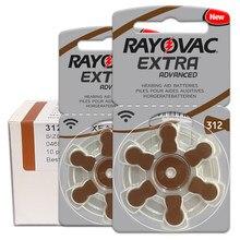 60 pces/1 baterias rayovac EXTRA-A312/312/pr41 do aparelho auditivo do ar do zinco 1.45v tamanho 312 diâmetro 7.9mm espessura 3.6mm