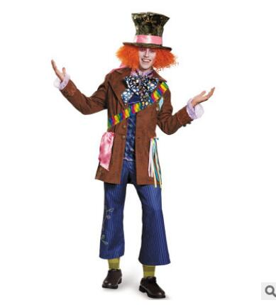 Alice in Wonderland Cosplay  Mad Hatter Costume Full Set Hat Queen of Hearts Halloween Cosply Costume