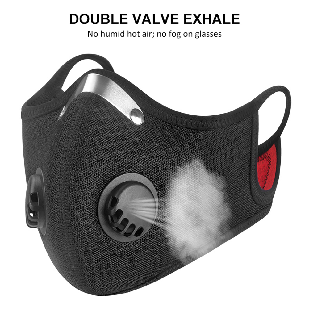 In Stock Activated Carbon Face Mask With Antivirus Valve Mouth Mask With Carbon Filter Anti PM2.5 Filter Bacteria Respirator