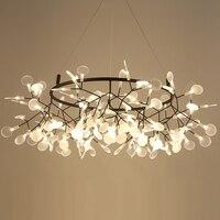 Led pós moderna ferro vidro firefly preto claro lamparas de techo lustre iluminação para foyer quarto Lustres    -