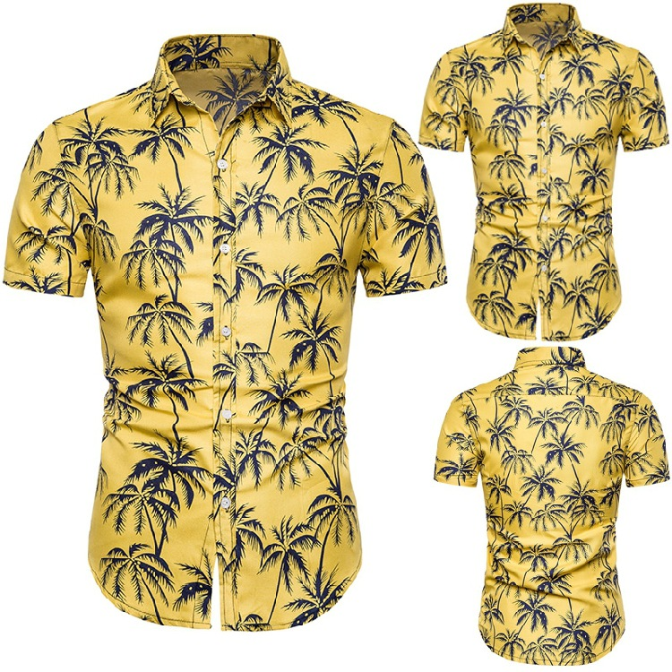 Summer New Products Men Casual Short Sleeve Hawaii Printed Shirt Palm Printed Fashion Square Collar Shirt