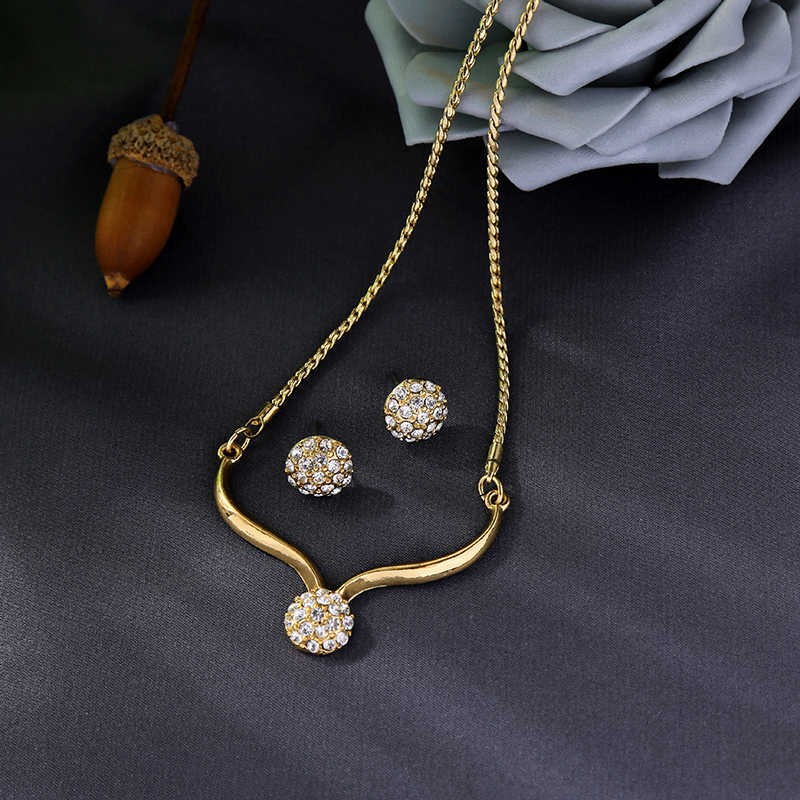 Fashion New Arrival Necklace Earring For Women Handamde Crystal Ball Pendant Necklace Earring Appointment Gift