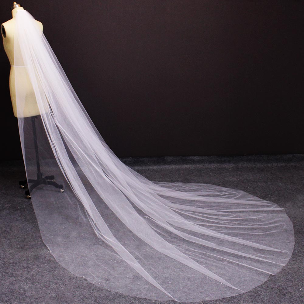 Soft Tulle Long Wedding Veil With Comb Elegant 3M White Ivory Cathedral Bridal Veil 3 Meters Veil For Bride Wedding Accessories