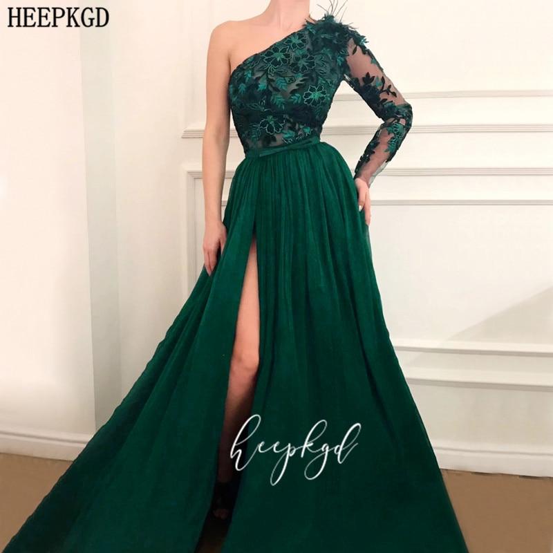 Robe De Soiree 2020 Elegant Green Long Sleeve Evening Dress One Shoulder High Slit Sexy Lace Women Party Dresses Customize