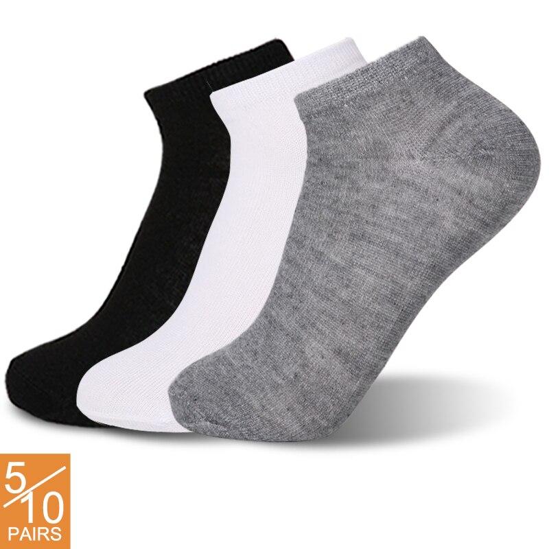 Calcetines tobilleros transpirables para mujer, calcetín corto, cómodo, de algodón, blanco y negro, 5/10 pares