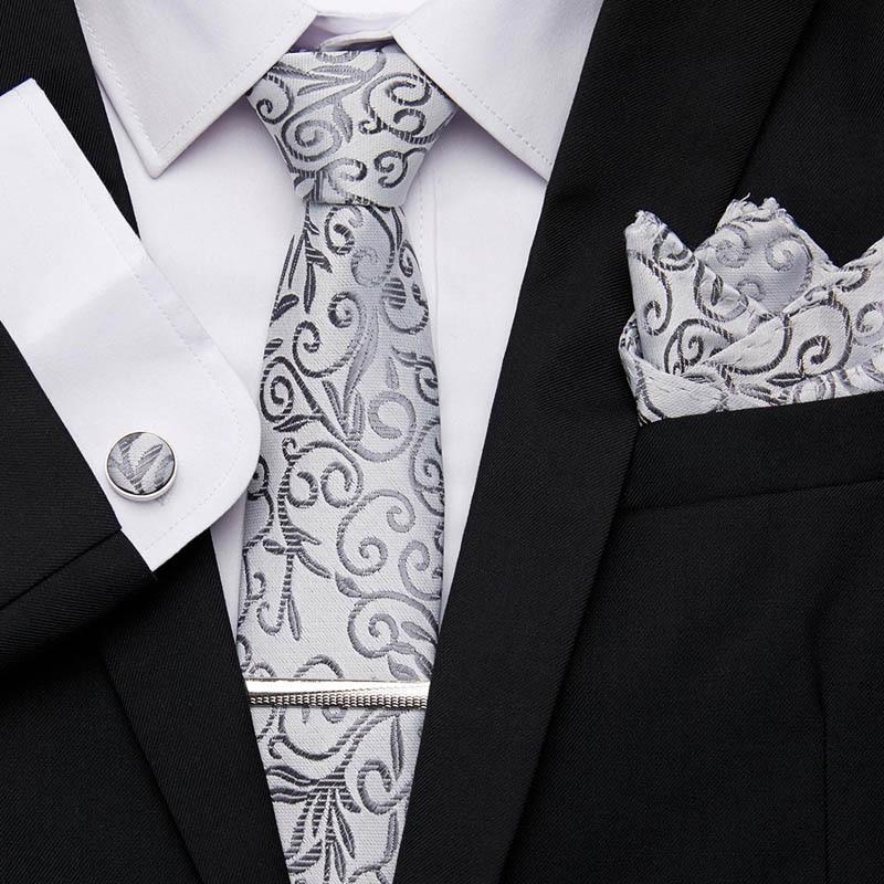 33Color Necktie Hanky Cufflink Set Men Party Wedding Narrow Skinny Neck Tie Solid Silk Woven Plain 7.5cm 100% Slim  Classic Tie