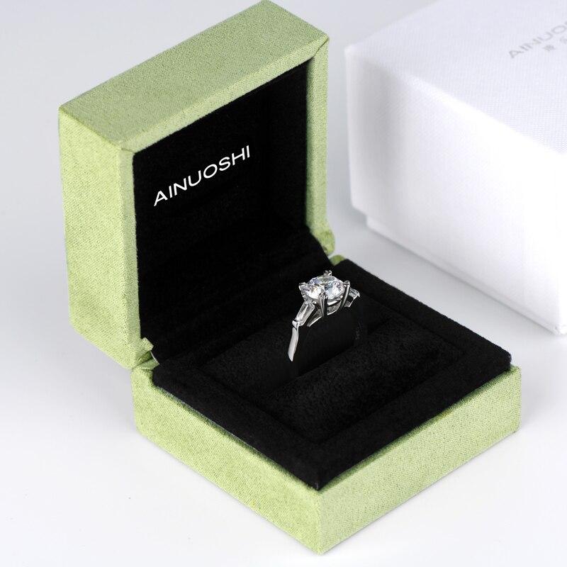 AINOUSHI classique 925 solide en argent Sterling 2 carats taille ronde 3 bague en pierre pour les femmes de mariage bague de fiançailles - 6
