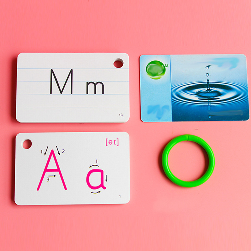 26 Letters English Flash Cards with Buckle Educational Alphabet <font><b>Learning</b></font> <font><b>Toy</b></font> Books Games <font><b>for</b></font> Kid <font><b>Children</b></font> Handwritten Montessori image