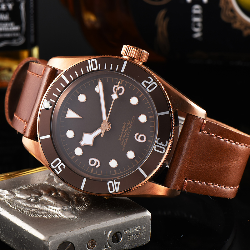 watch men automatic mechanical watch 316L Solid stainless steel pvd Luminous waterproof Leather 41MM KGT11
