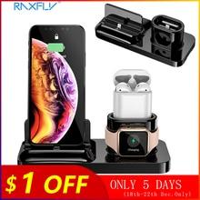 RAXFLY 3 IN 1 manyetik telefon iphone şarj cihazı 11 X MAX XR 8 7 kablosuz şarj Apple İzle 4 AirPods şarj standı istasyonu
