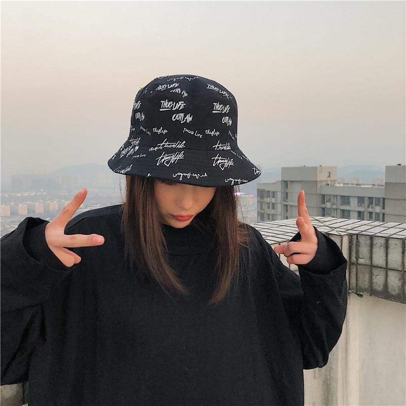 Graffiti Letters Reversible Bucket Hat Women Girls Cotton Sunscreen Sunbonnet Fishing Hats Fashion Two Side Panama Caps