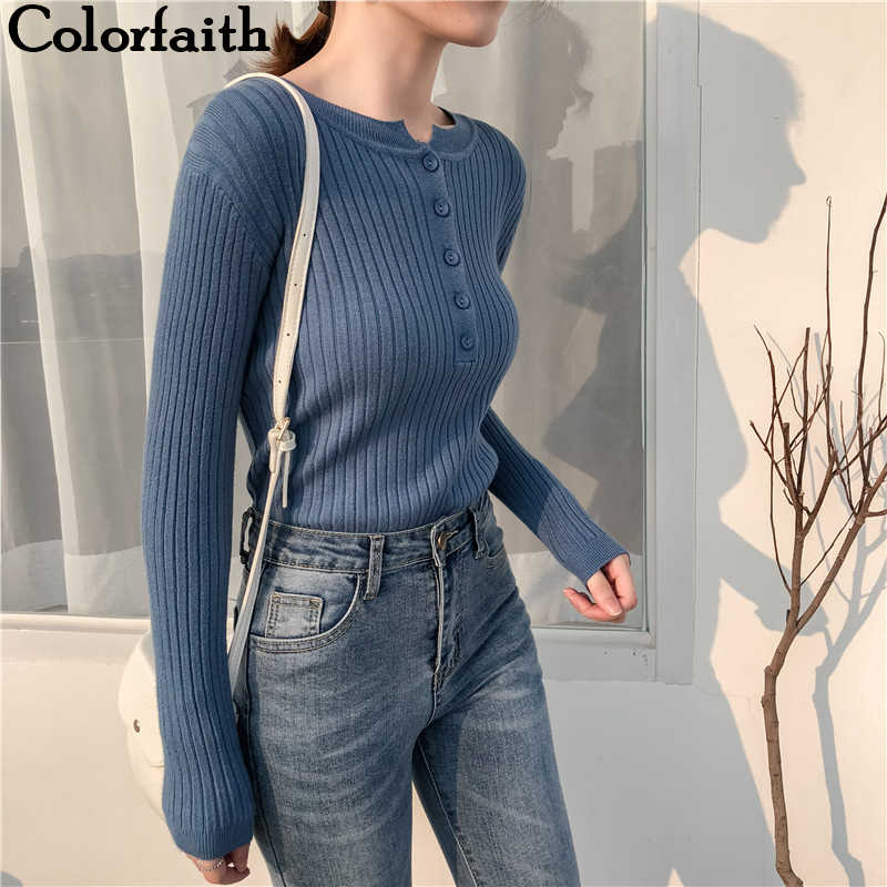 Colorfaith Women Pullovers Sweater New 2019 Knitted Autumn Winter Spring Fashion Sexy Elegant Buttons Casual Ladies Tops SW9065