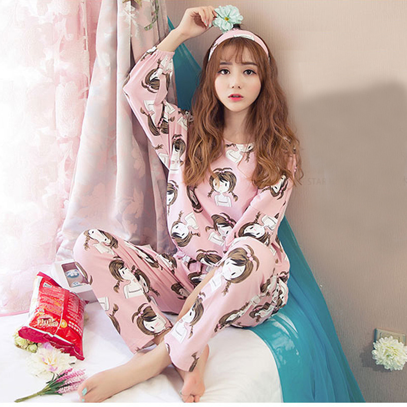 Pajamas Women's Spring And Autumn Cute Cartoon GIRL'S Sweet Princess Long Sleeve Thin Loose And Plus-sized Homewear Set