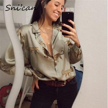 women satin blouse long sleeve zebra print shirts vintage office ladies tops femme chandails za 2020 fashion blusa de mujer ins 4