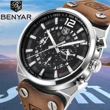 Reloj de pulsera de Hombre de cuero de marca militar de negocios cronógrafo impermeable Casual deportivo de moda de BENYAR