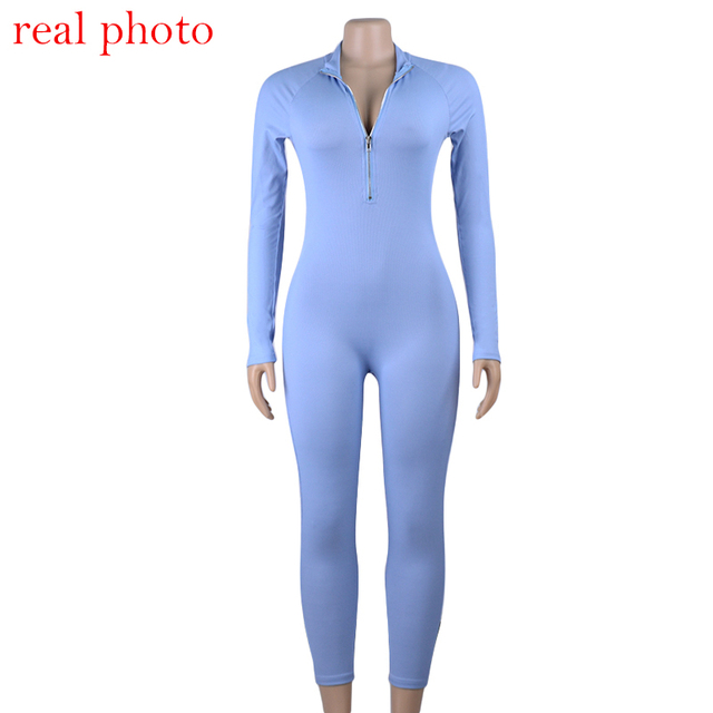 Simenual Ribbed Fitness Active Wear Rompers Womens Jumpsuit Zipper V Neck Sexy Fashion 2019 Long Sleeve Workout Sporty Jumpsuits 6