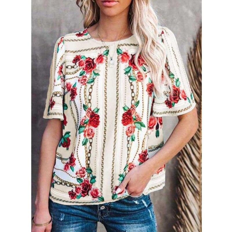 5XL Plus Size Women Clothing Short Sleeve T-Shirts Fashion Flower Print O-Neck Summer Tee Loose Casual 2021 Ladies T-Shirt Tops