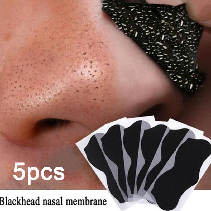 5 pçs de bambu carvão cravo removedor máscara pontos pretos manchas acne tratamento máscara nariz adesivo limpador poro tiras limpas profundas