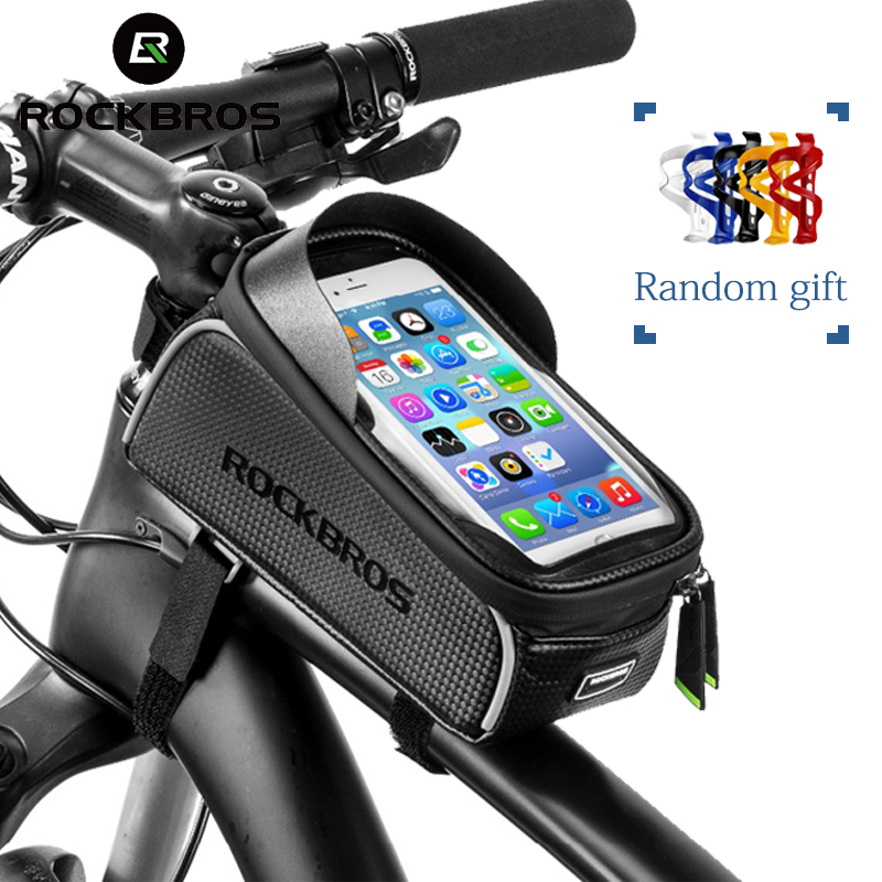 RockBros Bike Bicycle Frame Bag Pannier Touch Screen Phone Cycling Bag Black