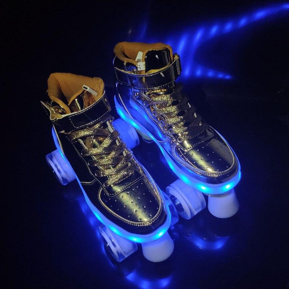 2020 nouveau Flash Skate adulte Double rangée poulie chaussures hommes femmes 4 roues PU enfants lumineux patins à roulettes - 4