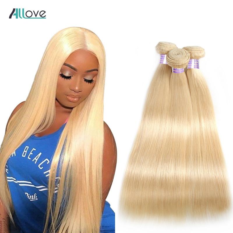 Allove Blonde Straight Hair Bundles Brazilian Hair Weave Bundles 613 Human Hair Weave 1/3/4 Remy Hair Bundles Extensions