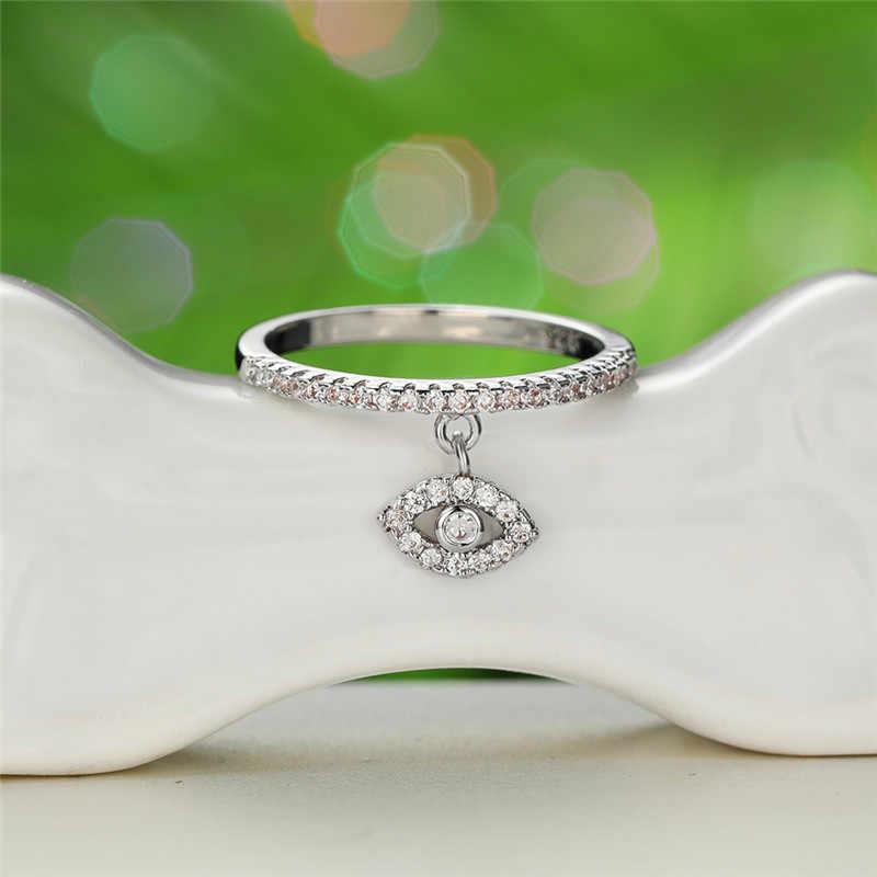 Rongxing Satu Mata Menjuntai Kristal Cincin 925 Perak Rose Warna Emas Putih Zircon Minimalis Tipis Cincin untuk Wanita Pernikahan Perhiasan