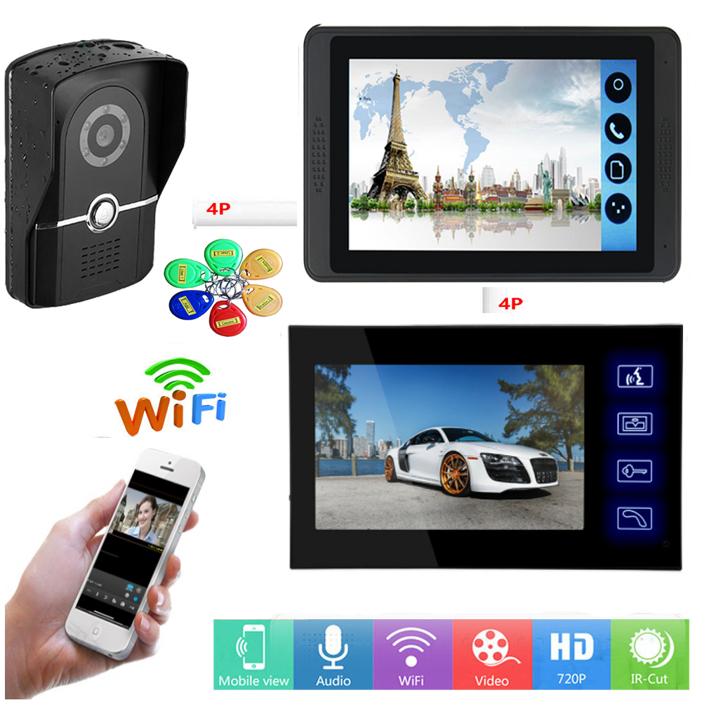 APP Control Video Intercom 7 Inch LCD Wifi Wireless Video Door Phone Doorbell RFID Access Visual Intercom System Remote Unlock