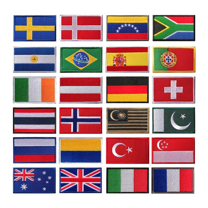País bandera parche rayas Molle bolsas bordadas Rusia Turquía Francia UE bandera parches militares de estilo táctico ejército bolsa XA2A