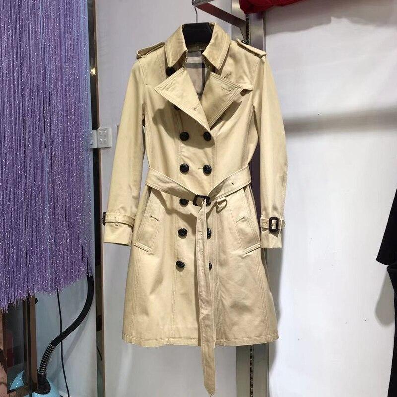 Otoño de longitud media gabardina de mujer de color caqui cultivan una moralidad con cinturón de mujer moda abrigo Dama Doble botones-in Zanja from Ropa de mujer    1