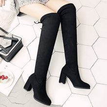 Sexy Over Knees Black Boots 2019 Autumn Women Boots Female Autumn Winter Lady Thigh High Boots Casual Shoes 35-41 Dropshipping(China)