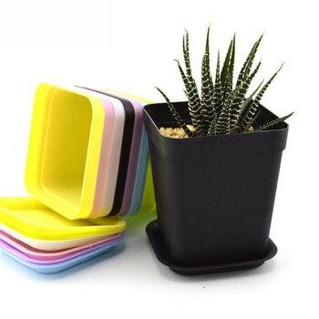 10 unidades/juego de 7 colores de macetas de plástico, pequeñas bandejas de decoración para el hogar, maceta para plantas