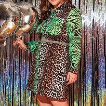 Leopard printed women dress autumn 2020 african turn down co