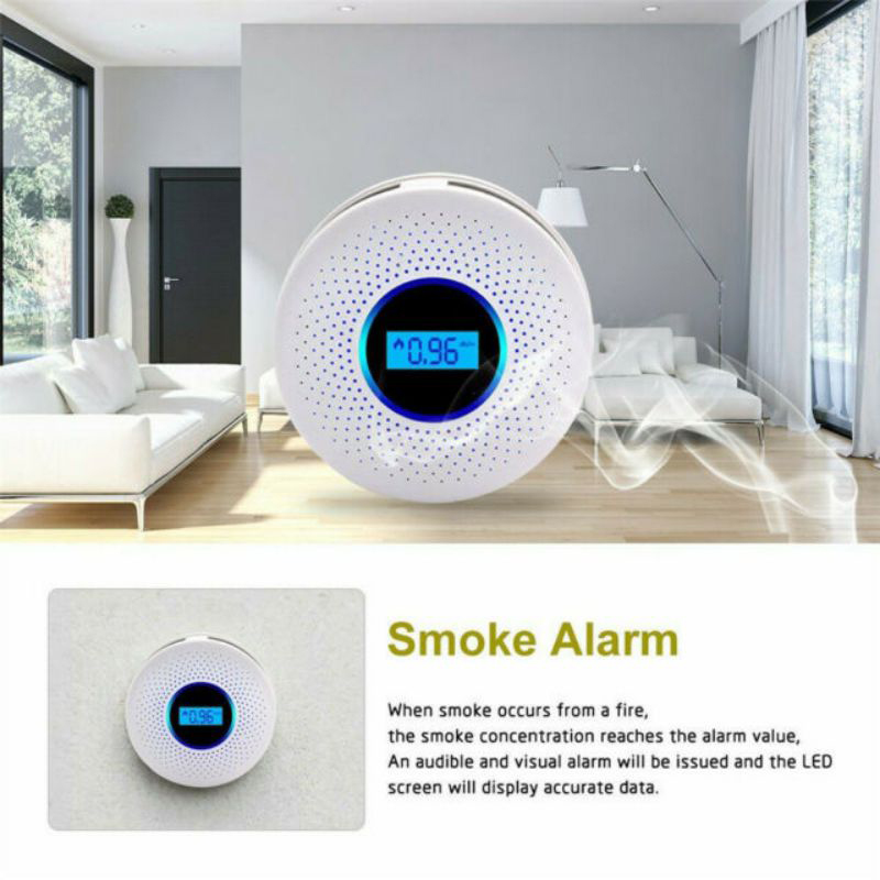 Two In One Carbon Monoxide Detector And Smoke Alarm With Voice Warning LCD Digital Display